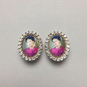 Frida Kahlo Portrait Crystal Clip On Earrings